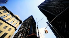High angle view of Steel, concrete and glass Skyscrapers, Manhattan, NY, USA Stock Footage