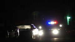 Night Police Traffic Stop Suspect Search HD Stock Footage