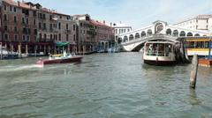 Venice Rialto Bridge Vaporetti water taxi P HD 1119 Stock Footage