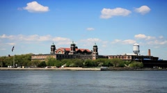 View of Ellis Island of New York Harbour, Manhattan, North America,USA Stock Footage