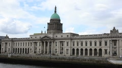 Customs House Quay Dublin Ireland. Stock Footage