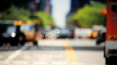 Blurred Motion of traffic at Intersection on a busy day, NY, USA - stock footage