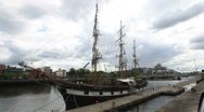 Stock Video Footage of Jeanie Johnston Famine Ship Dublin Quay