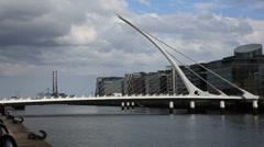 Samuel Beckett Bridge Dublin Ireland Stock Footage