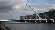 Stock Video Footage of Samuel Beckett Bridge Dublin Ireland