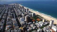 Ipanema Beach aerial Rio de Janeiro Brazil flight FULL HD 1080P Stock Footage