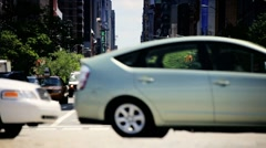 New York traffic at a busy Intersection midtown Manhattan New York, USA - stock footage
