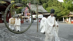 Festival at Tsurugaoka Hachimangu Shrine in Kamakura on June 30th, 2011 - stock footage