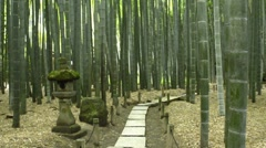 Old Japanese stone lantern at Hokokuji Temple's Bamboo Garden Stock Footage