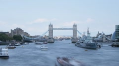 Time lapse of London's Tower Bridge with River Traffic Stock Footage