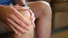 A Man with Knee Pain Close Up Stock Footage