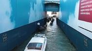 Venice gondola motor boat narrow alley P HD 1029 Stock Footage