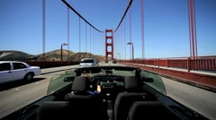 Open Top Car on Golden Gate Bridge - stock footage
