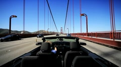 Luxury Convertible Car on the Golden Gate Bridge Stock Footage