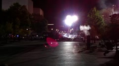 Filming of Transformers 2 movie DC, gunfire, fire, car crashes, shootout Stock Footage