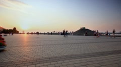 Time lapse. Dnepropetrovsk waterfront at sunset. slider shot. Stock Footage