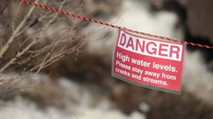 Flood and warning sign P HD 9265 Stock Footage