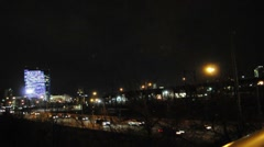 Ciy Skyline and Highway (pan) Stock Footage