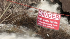 Flood river warning sign P HD 9263 Stock Footage
