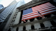 Stock Video Footage of New York Stock Exchange Manhattan American Flag NYC USA America Financial