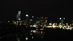 City Skyline and Highway at Night (out of focus) - stock footage