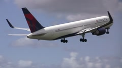 Stock Video Footage of Big Delta Airlines plane takes off