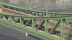 Big traffic on Liberty Bridge, Budapest, Hungary Stock Footage