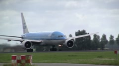 Big 777 taking off - stock footage