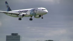 Egyptair airbus landing at Schiphol Amsterdam - stock footage