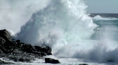 Extreme wave crushing vulcan coast Stock Footage