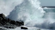 Stock Video Footage of extreme wave crushing vulcan coast