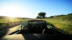 Driving the Countryside of Napa Valley at Sundown - stock footage