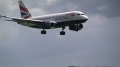 British Airways airplane landing Stock Footage