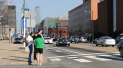 People Waiting At Intersection Stock Footage