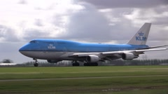 Huge KLM plane takes off Stock Footage