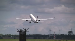 White plane taking off - stock footage