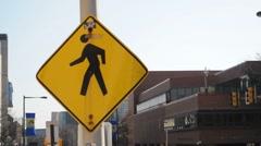 Yield People Walking Sign Stock Footage