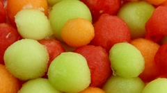 Melon Ball Fruit Salad Close Up Stock Footage