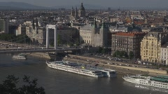 Elizabeth Bridge and aerial view of Budapest, Hungary Stock Footage