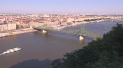 Panoramic view of Budapest city with Liberty Bridge, Hungary Stock Footage