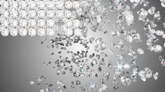 Diamonds falling with whirl and disappearing. Slow motion - stock footage