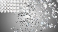 Diamonds falling with whirl and disappearing. Slow motion Stock Footage