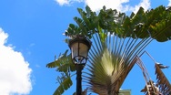 Stock Video Footage of Puerto Rico - 1852 street light made in Spain in front of 1772  Catholic Church