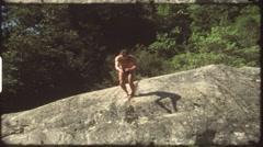 Salto mortale into natural pool (vintage 8 mm amateur film) Stock Footage