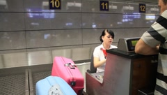 "International airport ""Borispol"". Check-in counter in new terminal ""F"". Stock Footage"