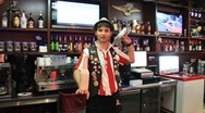 Flairing. Barman juggles bottles Flairing. (editorial clip) Stock Footage