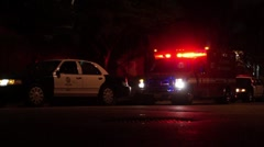 Ambulance and Police Cars at Night HD Stock Footage