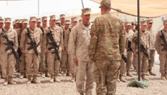 Marines standing in formation (HD) c Stock Footage