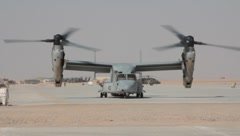V-22 helicopter with blades rotating (HD)k - stock footage