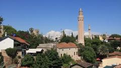 Kaleici - old town. Yivli minaret. Antalya, Turkey Stock Footage